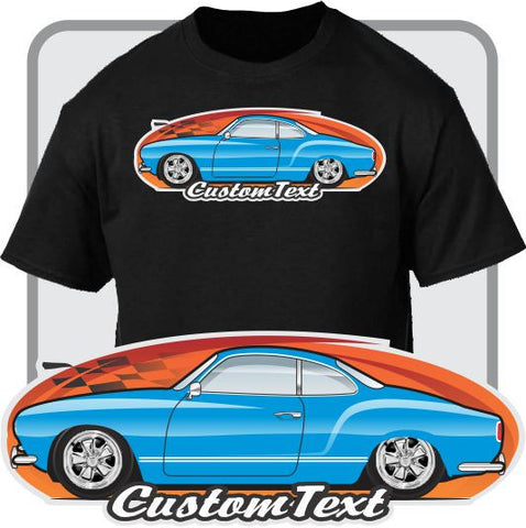 Custom Car Art T-shirt 1957 1958 1959 57 58 59 Volkswagen VW Karmann Ghia Type 14 Coupe