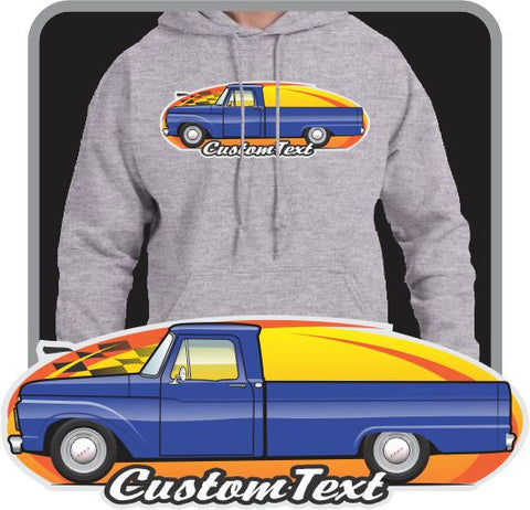 Custom Art Hoodie 1961 62 63 64 65 66 F-100 F100 F-250 Pickup long bed not affiliated with ford Truck