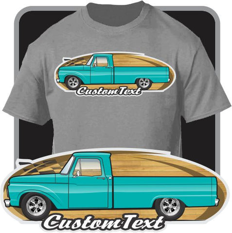 Custom Art T-Shirt 1961 1962 63 64 1965 66 1966 Ford F-100 F100 F-250 Mercury M-100 Pickup Truck Long Bed Flareside Styleside Twin I-Beam