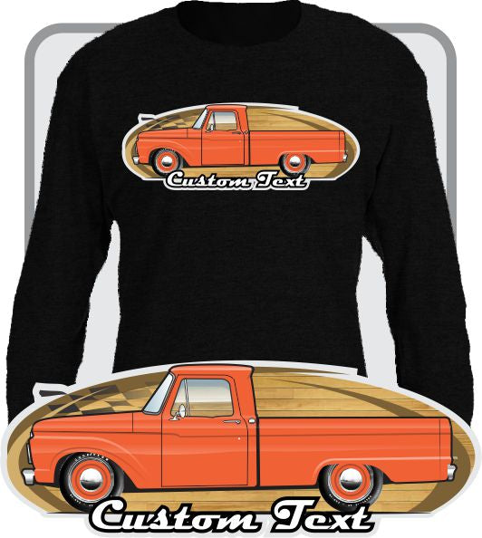 Custom Art Long Sleeve Shirt 1961 1962 63 64 1965 66 1966 Ford F-100 F100 F-250 Mercury M-100 Pickup Truck Short Bed Flareside Styleside Twin I-Beam
