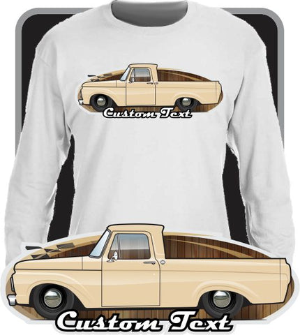 Custom Art Long Sleeve Shirt 1961 1962 63 1963 61 62 Ford F-100 F100 F-250 Unibody Pickup Truck Short Bed