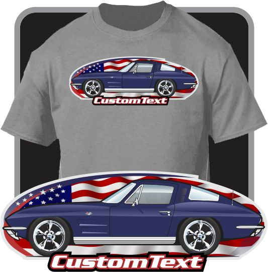 Custom Art T-Shirt 63 64 1963 1964 Chevy Chevrolet corvette Sting Ray 327 V8 vette