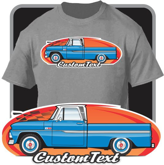 Custom Art T-Shirt for 1964 64 65 1965 1966 66 GMC Chevy Chevrolet C-10 C10 pickup Truck
