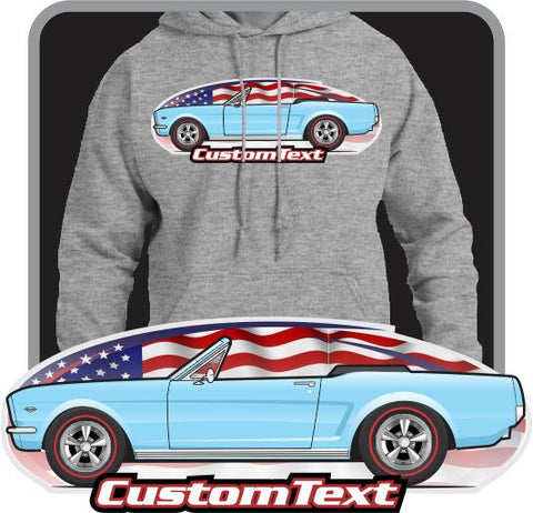 Custom Art Hoodie 1964 1/2 64 GT Mustang Convertible not affiliated with ford