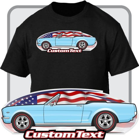 Custom Art T-Shirt 1964 1/2 64 GT Mustang Convertible not affiliated with ford