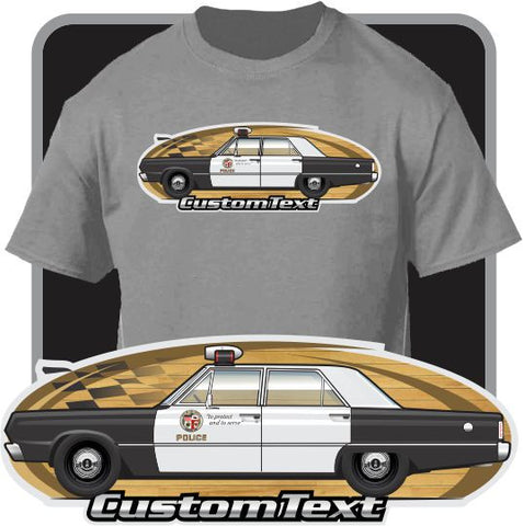 Custom Art T-Shirt 1966 1967 Plymouth Belvedere Satellite Adam-12 LAPD Police Car