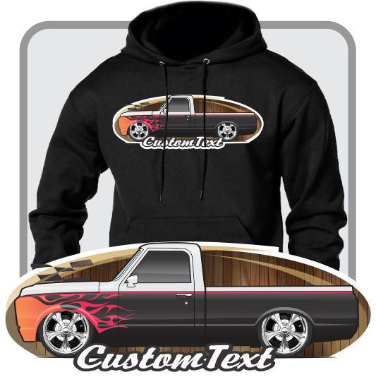 Custom Art Hoodie 1967 68 69 70 71 1972 GMC Sierra Chevy Chevrolet C-10 Cheyenne short bed Pickup Truck