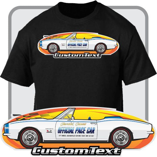 Custom Art T-Shirt for 67 1967 Chevy Chevrolet Camaro SS 350 Indy 500 Pace Car