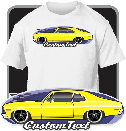 Custom Art T-Shirt for 68 69 70 71 72 Chevy Nova SS 350 396 427 Yenko Chevrolet
