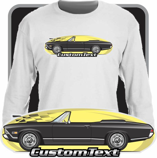 Custom Art Long Sleeve 68 1968 Chevy Chevrolet Chevelle Malibu SS 396 V8  Convertible