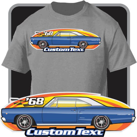 Custom Art T-Shirt 68 1968 dodge Coronet Super Bee 440 426 Hemi street machine