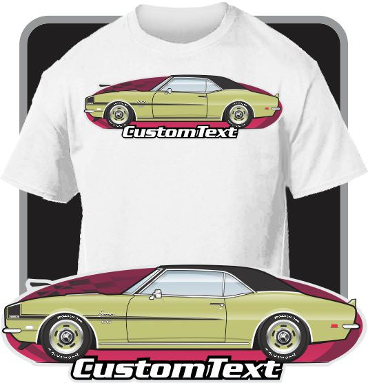 Custom Art T-Shirt for 68 1968 Chevy Chevrolet Camaro RS SS Yenko 350 427 Z28