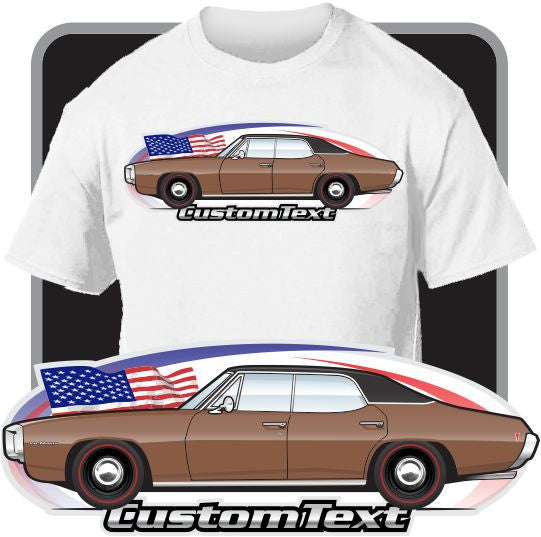 Custom Car Art T-shirt 69 1969 Pontiac Le Mans 4 door S hardtop 400 H.O. 350 428