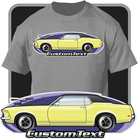 Custom Art T-Shirt  inspired on 1969 69 Boss 302 351 428 Ford Mustang Hardtop Grande Car