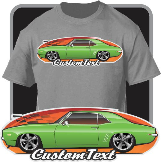Custom Art T-Shirt for 1969 Chevy Chevrolet Camaro RS SS ZL1 Copo 396 427 Z28