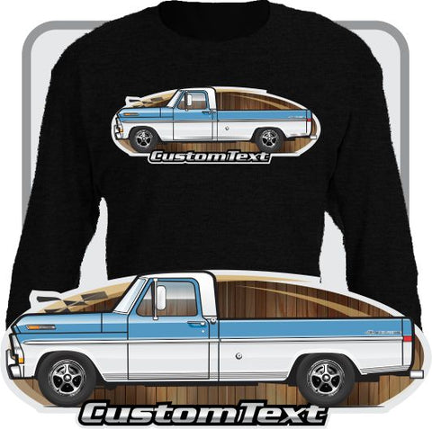 Custom Art Long Sleeve 70 1970 71 1971 72 1972 F-100 Pickup Long Bed Truck not affiliated w ford