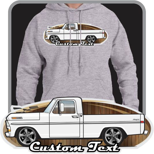 Custom Art Hoodie 1970 1971 1972 Ford Truck F-100 302 Windsor V8 Custom Cab Pickup short Bed Explorer Special Ranger XLT
