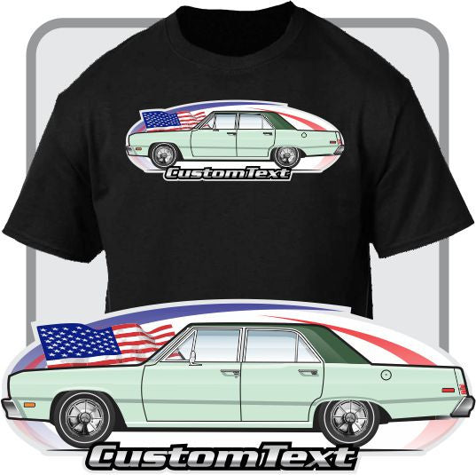 Custom Car Art T-shirt 1974 74 75 76 1976 Plymouth Valiant Brougham 4-door sedan