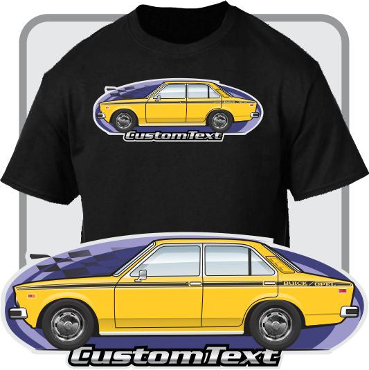 Custom Car Art T-shirt 1976 1977 1978 79 Buick Isuzu Opel 4 door Sedan DeLuxe