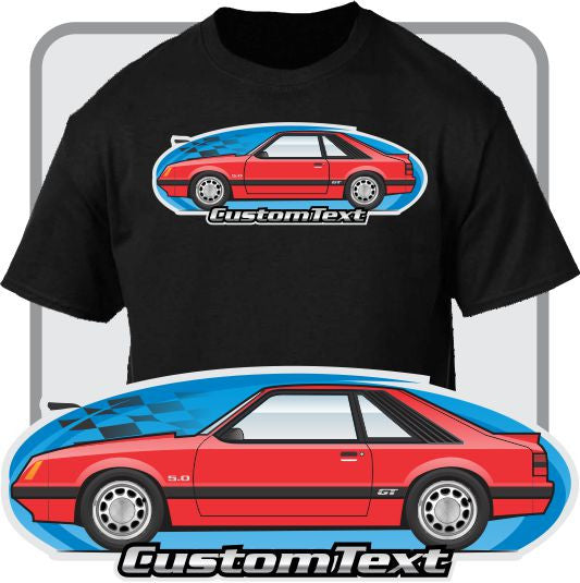 Custom Car Art T-Shirt 79 1979 80 1980 81 1981 82 1982 1983 83 1984 84 85 1985 1986 86 Mustang gt glx gl lx turbo 5.0 hatchback not affiliated with ford