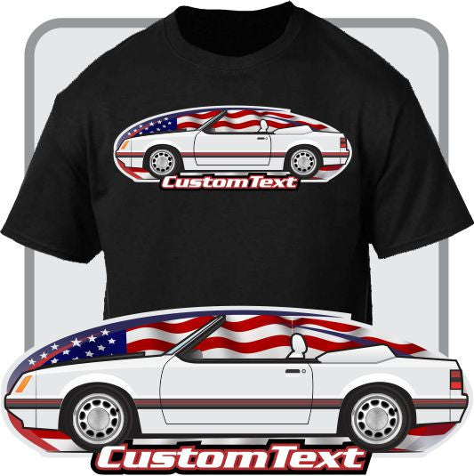 Custom Car Art T-Shirt 79 1979 80 1980 81 1981 82 1982 83 1983 84 1984 85 1985 1986 86 gt lx svo mustang convertible saleem not affiliated w ford