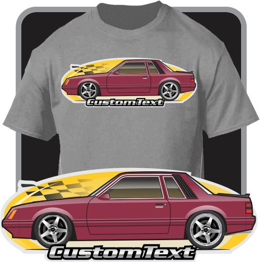 Custom Car Art T-Shirt 79 1979 80 1980 81 1981 82 1982 83 1983 84 1984 85 1985 1986 86 gt lx svo mustang notchback not affiliated w ford