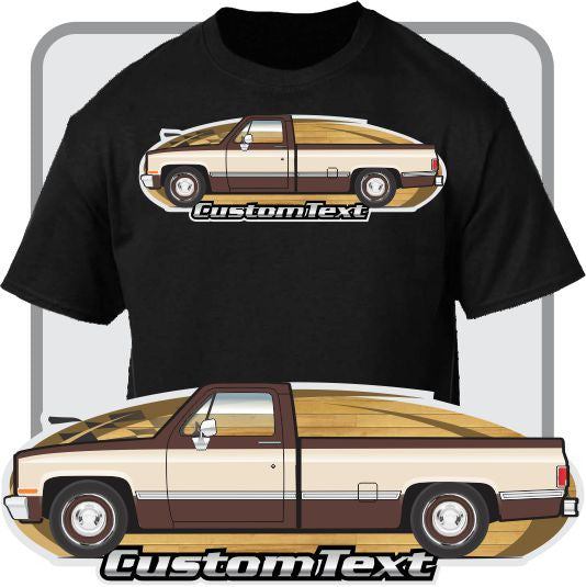 Custom Art T-Shirt for 81-87 GMC Chevy Chevrolet Silverado Custom Deluxe long Pickup Truck