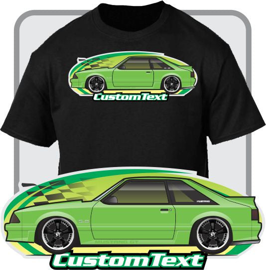 Custom Art T-Shirt inspired on 1987 1988 89 90 1991 1992 93 Ford Mustang Hatchback GT 5.0 Fox Cobra T-Top