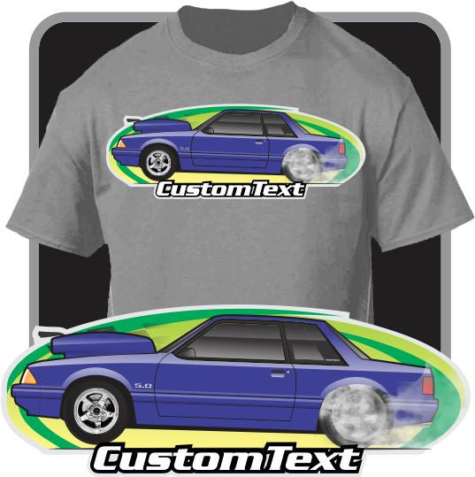 Custom Art T-Shirt inspired on 1987 88 89 1990 91 92 92 Ford Mustang 5.0 Notchback Drag racing GT