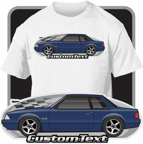 Custom Art T-Shirt 87 1987 88 1988 89 1989 90 1990 91 1991 1992 92 93 1993 Mustang 5.0 Notchback GT N/A W/ ford