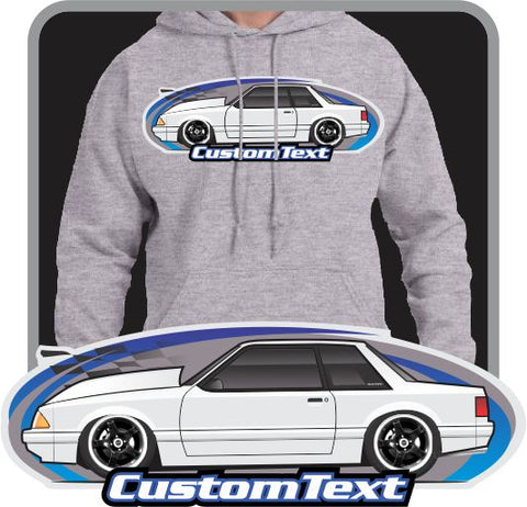Custom Art Hoodie  inspired on 1987 88 89 1990 91 92 92 Ford Mustang 5.0 Notchback Drag racing GT