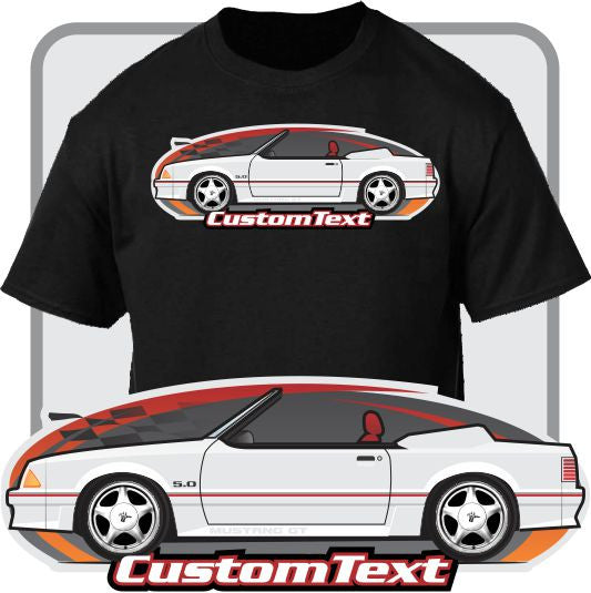 Custom Car Art T-shirt 87 1987 88 1988 89 1989 90 1990 91 1991 92 1992 93 1993 Mustang 5.0 LX GT Convertible top up or down not affiliated w ford