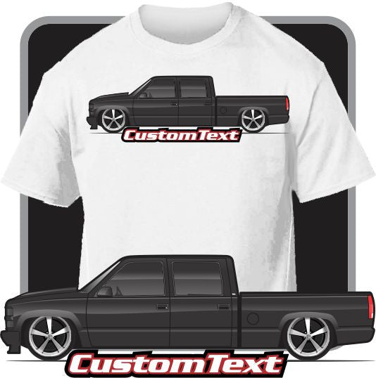 Custom Art T-Shirt 1992-2000 GMC Sierra Chevy Chevrolet Silverado 2500 3500 Z71 Crew Cab Short Bed Pickup Truck