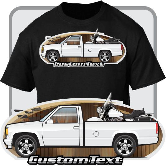 Custom Art T-Shirt 1988-1998 GMC Sierra Chevy Chevrolet 1500 Long Bed Silverado Pickup Truck with Bike on bed