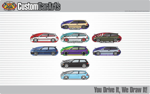 Custom Art Hoodie 1988 88 1989 89 1990 90 1991 91 Civic hatchback Si EF not affiliated with HONDA