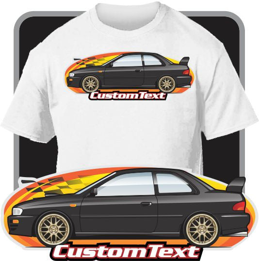 Custom Art T-Shirt 95 96 1997 98 1998 99 1999 00 Subaru Impreza AWD WRX 2.5 RS GC8 Coupe