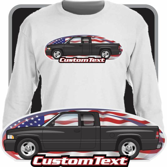 Custom Art T-Shirt Long Sleeve 94 1994 95 1995 96 1996 97 1997 98 1998 99 1999 00 2000 01 2001 Dodge Truck Ram 1500 2500 club quad cab Pickup