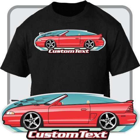 Custom Art T-Shirt 1994 95 96 97 98 Mustang GT SVO Cobra Convertible not affiliated with Ford