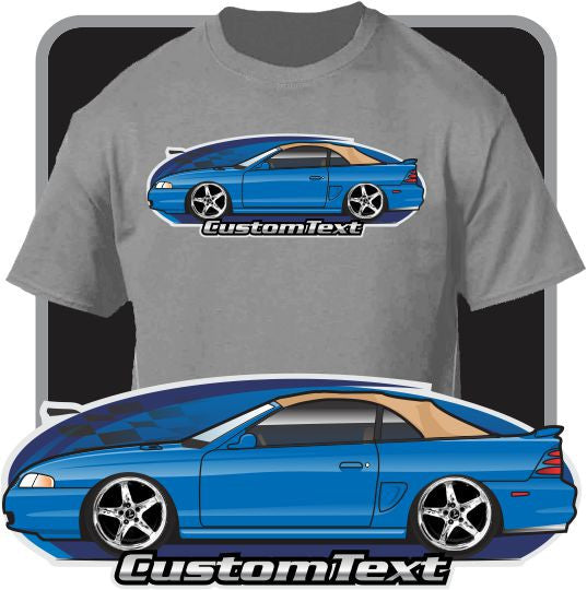 Custom Art T-Shirt 95 1996 1997 98 Rag Top Up Convertible Mustang GT not affiliated with Ford