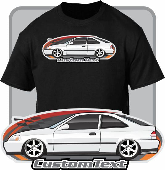 Custom Art T-Shirt 1996 96 1997 97 98 1998 1999 99 00 2000 hatch civic coupe Si DX EX HX N/A w/ HONDA