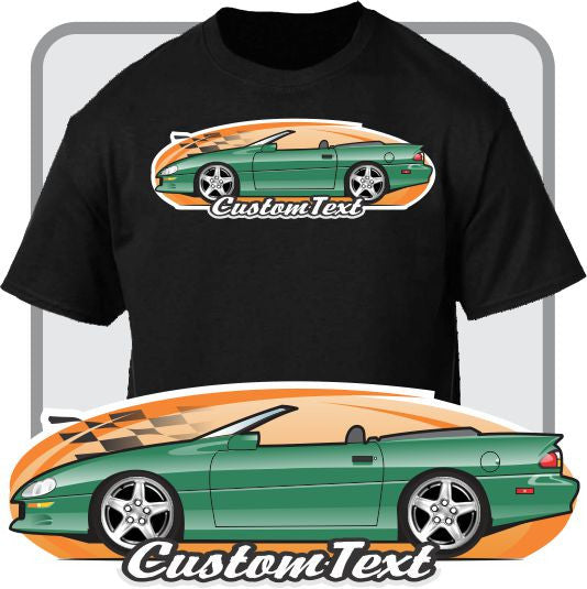Custom Art T-Shirt for 1998 99 2000 01 02 Convertible Chevy Chevrolet Camaro Z-28 Z/28 SS LS1