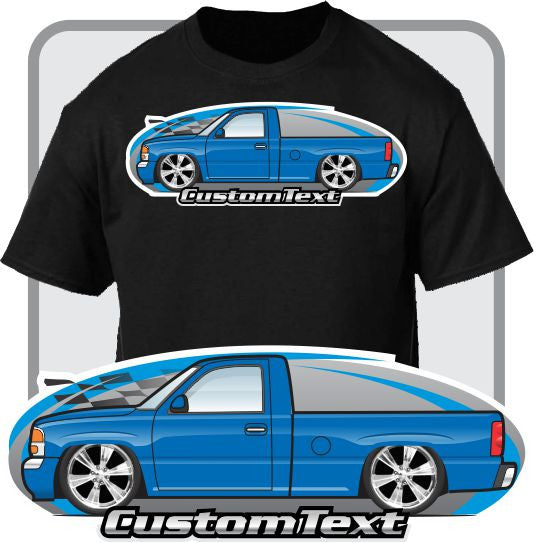 Custom Art T-Shirt for 1999-2006 GMC Sierra 1500 Denali C3 Z71 4x4 Short Bed Pickup Truck chevrolet