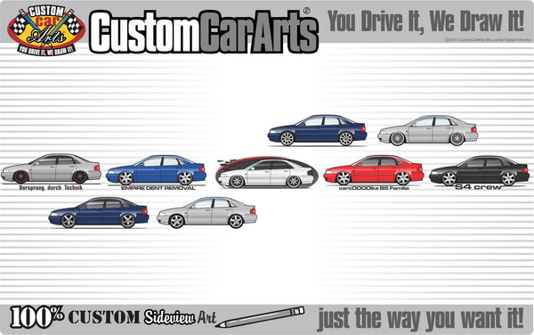 Custom Art T-Shirt 1994 95 96 97 98 99 2000 01 B5 Audi RS4 A4 S4 quattro sedan 2.8 V6