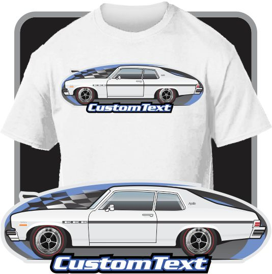 Custom Car Art T-shirt 73 1973 74 1974 Buick Apollo GSX Coupe Sedan 350 V8 Drag racing Car Street Machine Pro Stock Modified