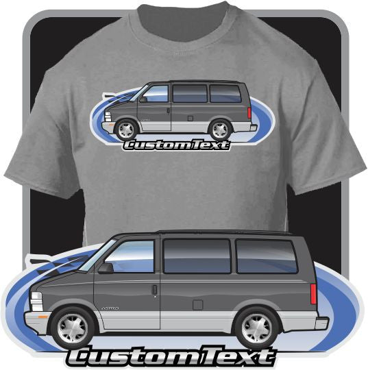 Custom Car Art T-shirt 1995-2005 GMC Safari GT 4.3 V6 Chevrolet Chevy Astro Van