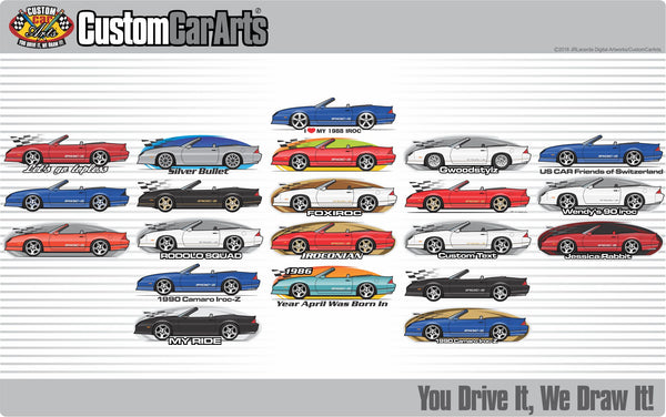 Custom Art T-Shirt 1988 88 1989 89 90 1990 Chevrolet Convertible Chevy Camaro Z/28 Z28 Iroc-Z RS