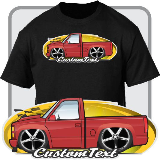 Custom Cartoon T-Shirt 1988-1998 GMC Sierra Chevrolet Chevy Silverado 454 SS Pickup Truck