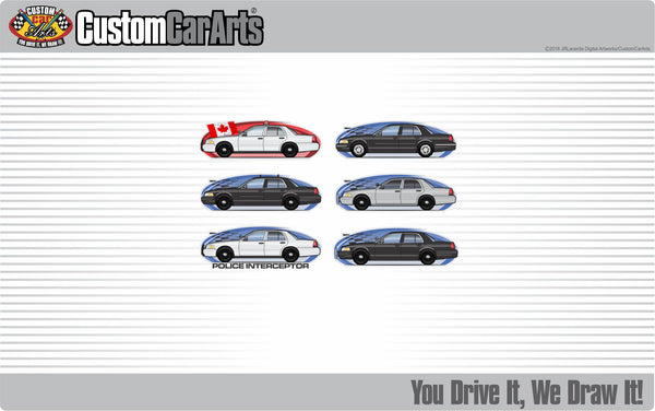 Custom Art T-Shirt Police Cruiser Cop Interceptor Crown Vic Victoria not affiliated with Ford