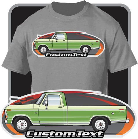Custom Art T-Shirt 1973 73 1974 74  1975 1976 1977 1978 1979 Ford F-150 F-250 350 V8  Pickup Truck Cab long bed XLT Explorer Lariat Ranger