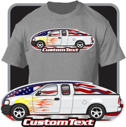 Custom Art T-Shirt 99 1999 00 2000 01 2001 02 2002 03 2003 04 2004 Ford F-150 Extended Cab Pickup Truck